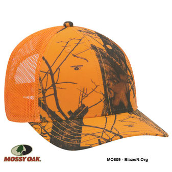 Mossy Oak Camouflage Superior Polyester Twill Six Panel Low Profile Mesh Back Cap