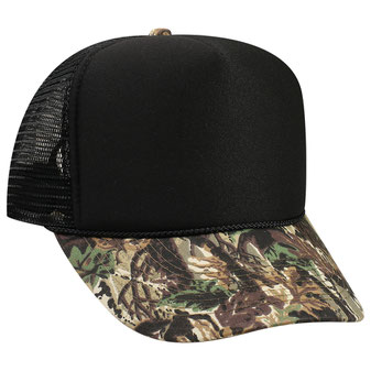 Polyester Foam Front Camouflage Visor High Crown Golf Style Mesh Back Caps