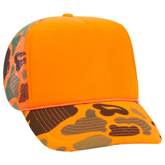 Camouflage Polyester Foam Front High Crown Golf Style Mesh Back Cap