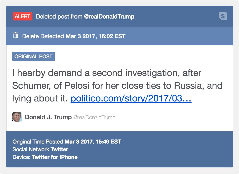 Deleted Social Post Alerts