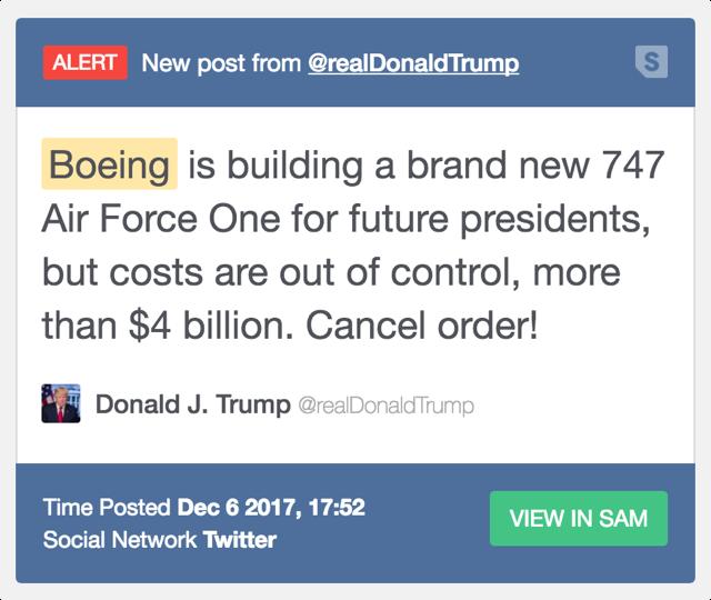 Trump Boeing Tweet