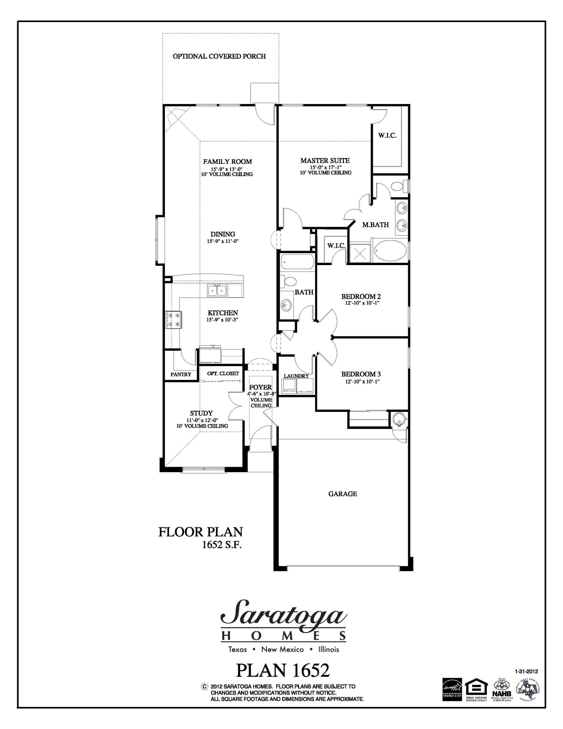 Plan 1652 saratoga homes houston for Houston home builders floor plans