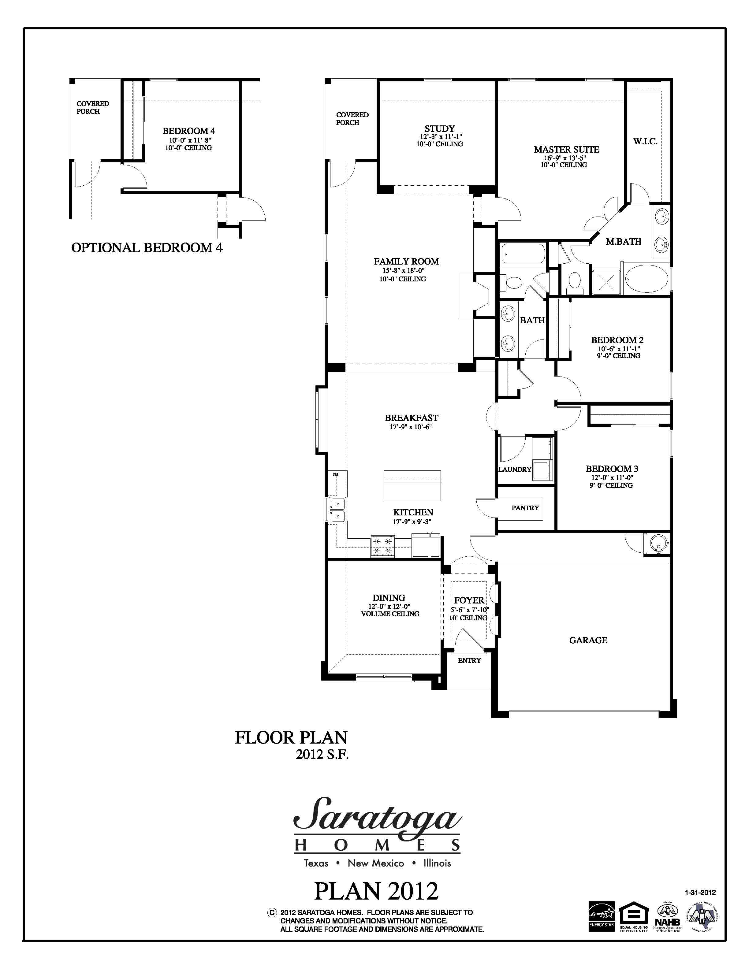 Plan 2012 saratoga homes houston for Houston home builders floor plans