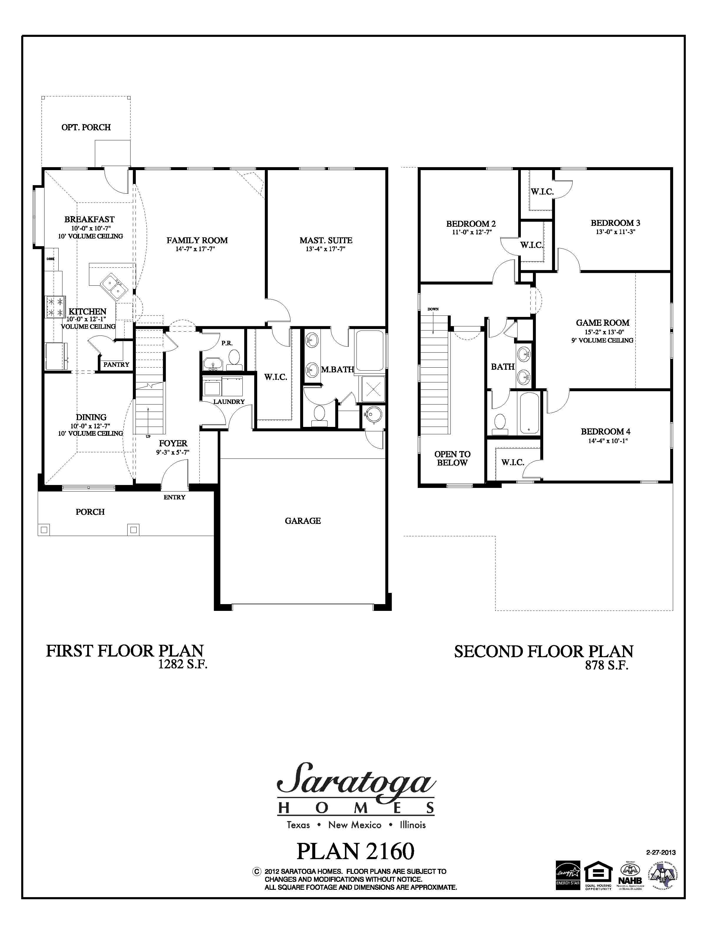 Plan 2160 saratoga homes houston for Houston home builders floor plans