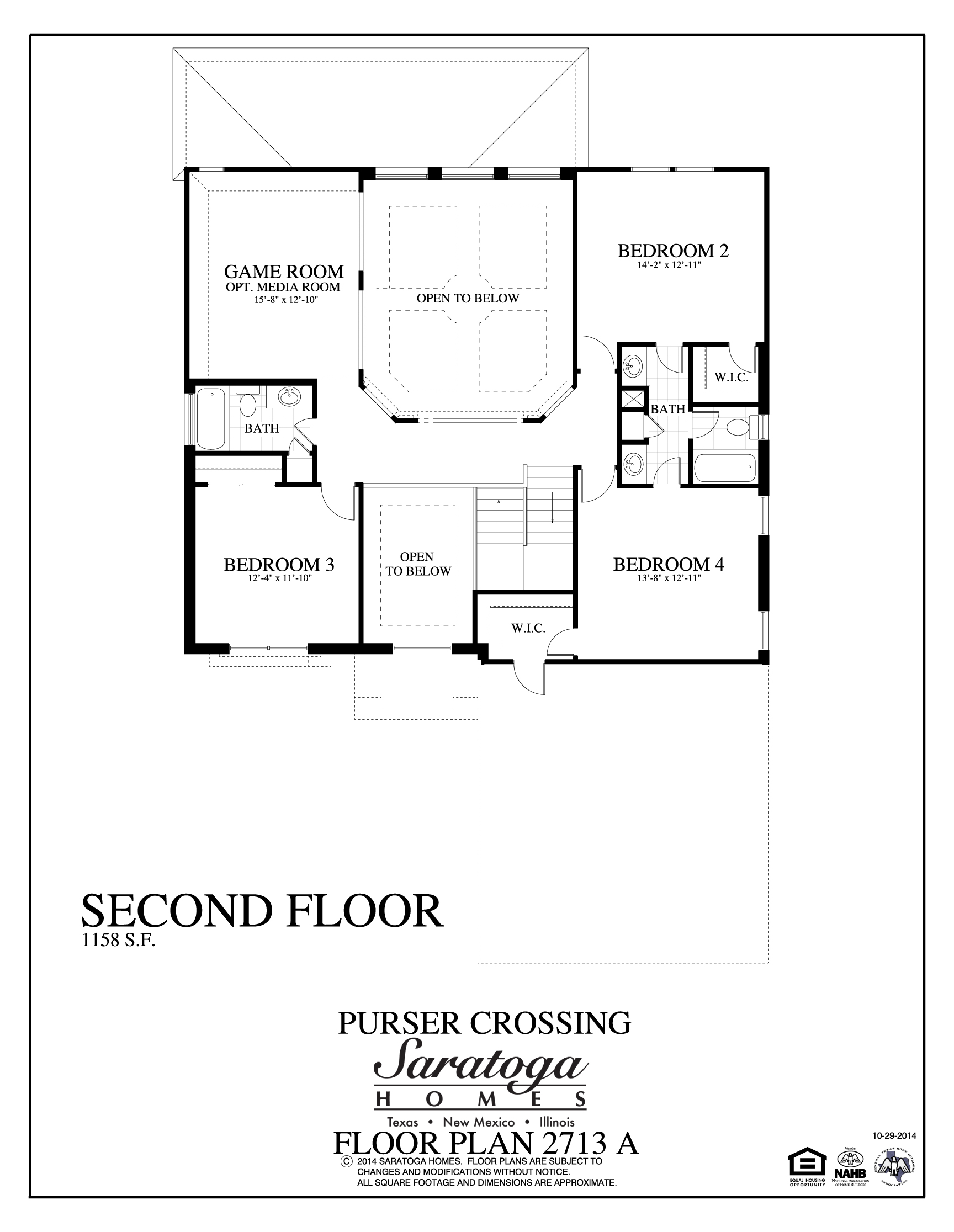 Plan 2713 a saratoga homes killeen for Second floor design plans