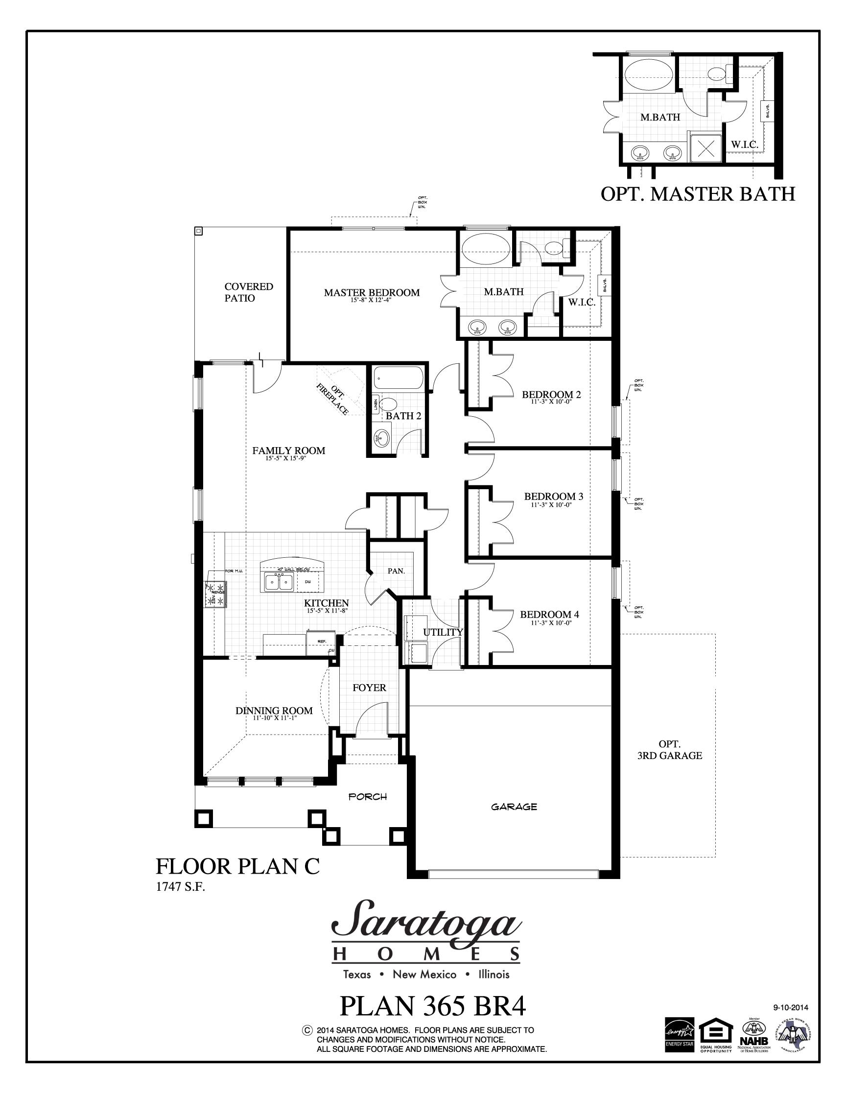 Plan 365 rc saratoga homes killeen for Saratoga homes floor plans