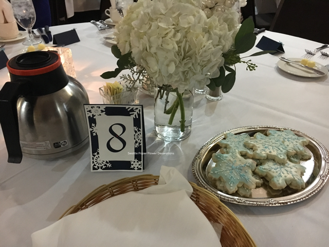 Table number tag snowflake | Seattle Balloon Decorations