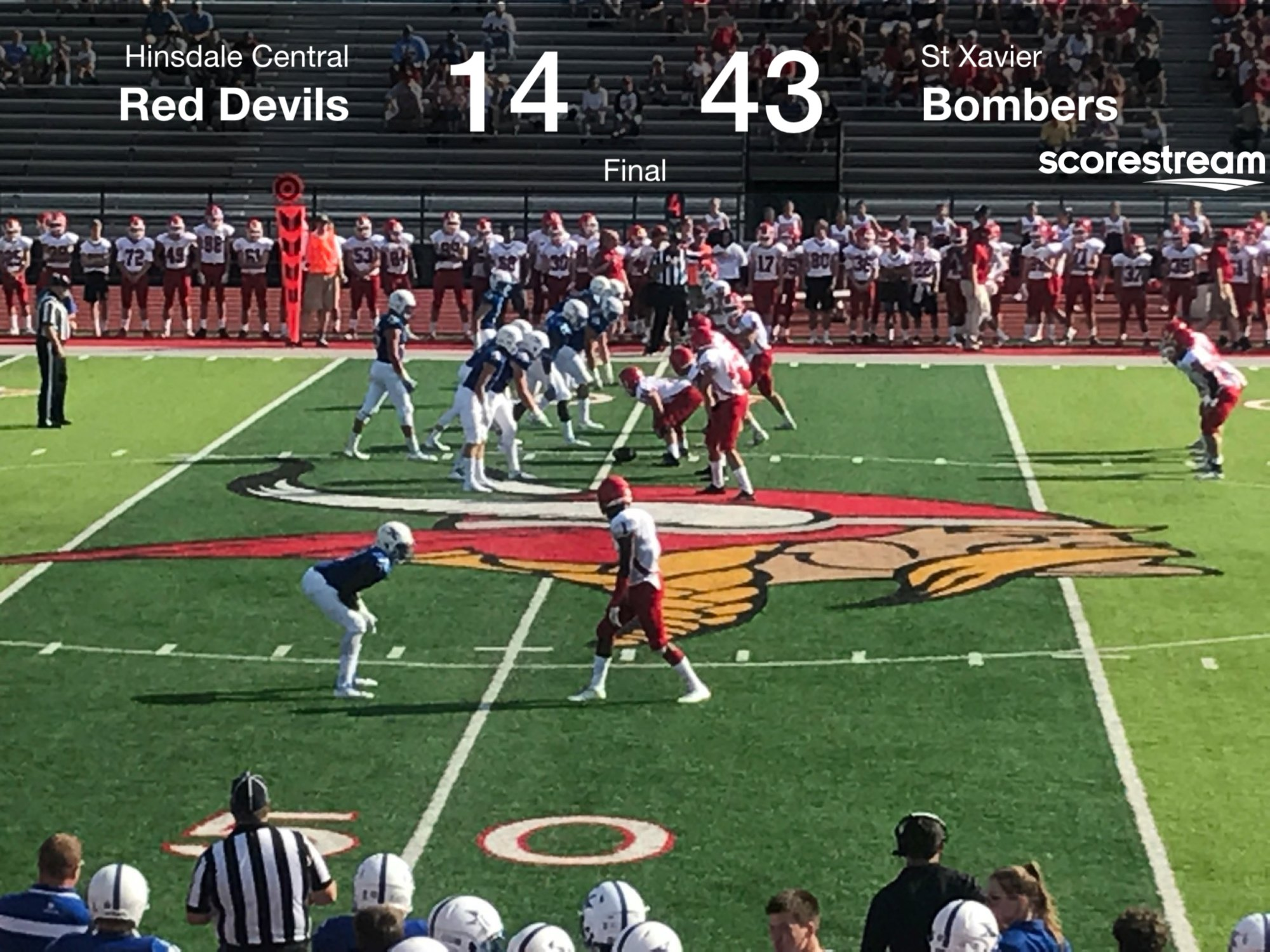 The St Xavier Bombers Defeat The Hinsdale Central Red Devils 43 To