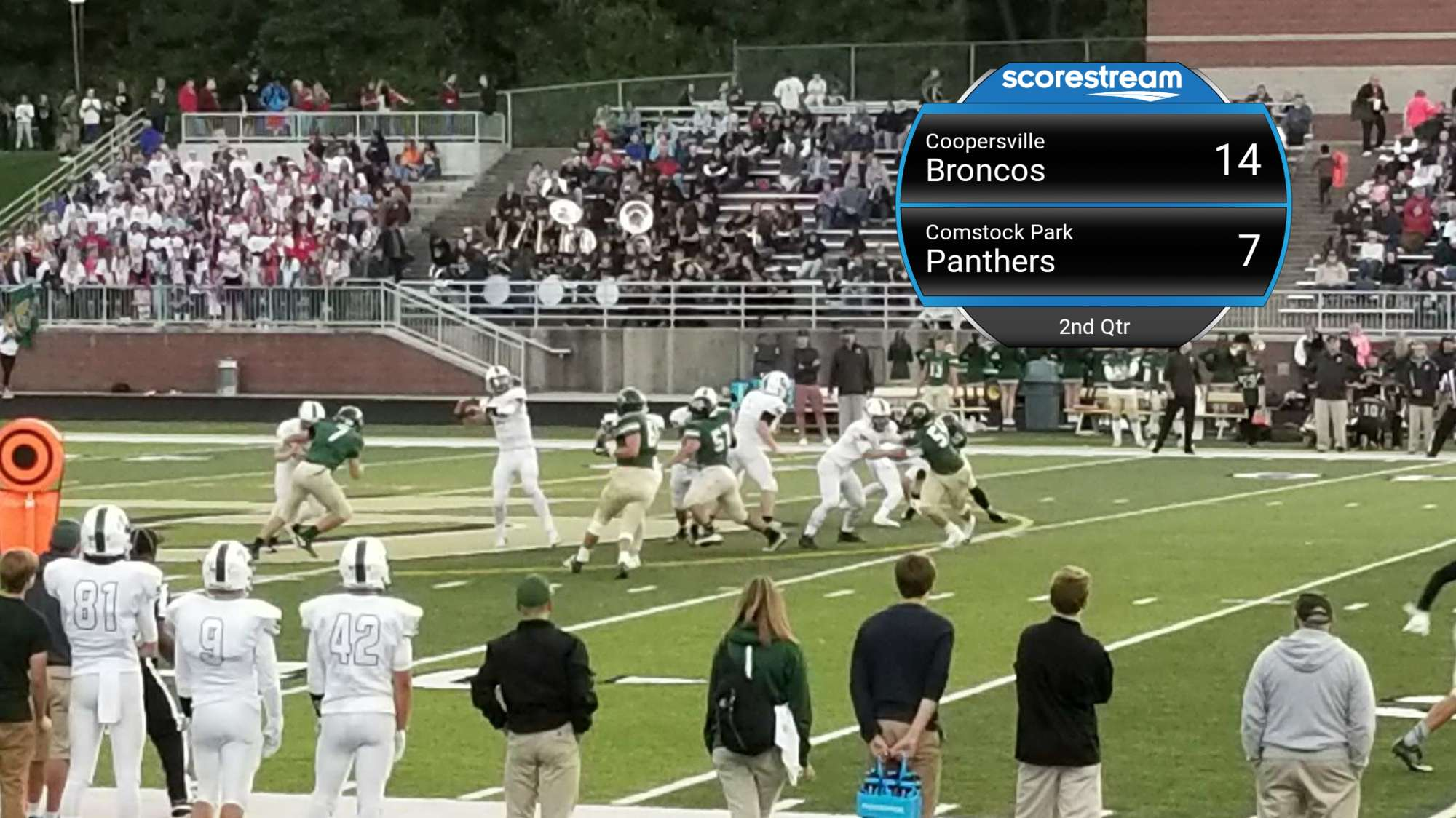 The Comstock Park Panthers Defeat The Coopersville Broncos 42 To 27