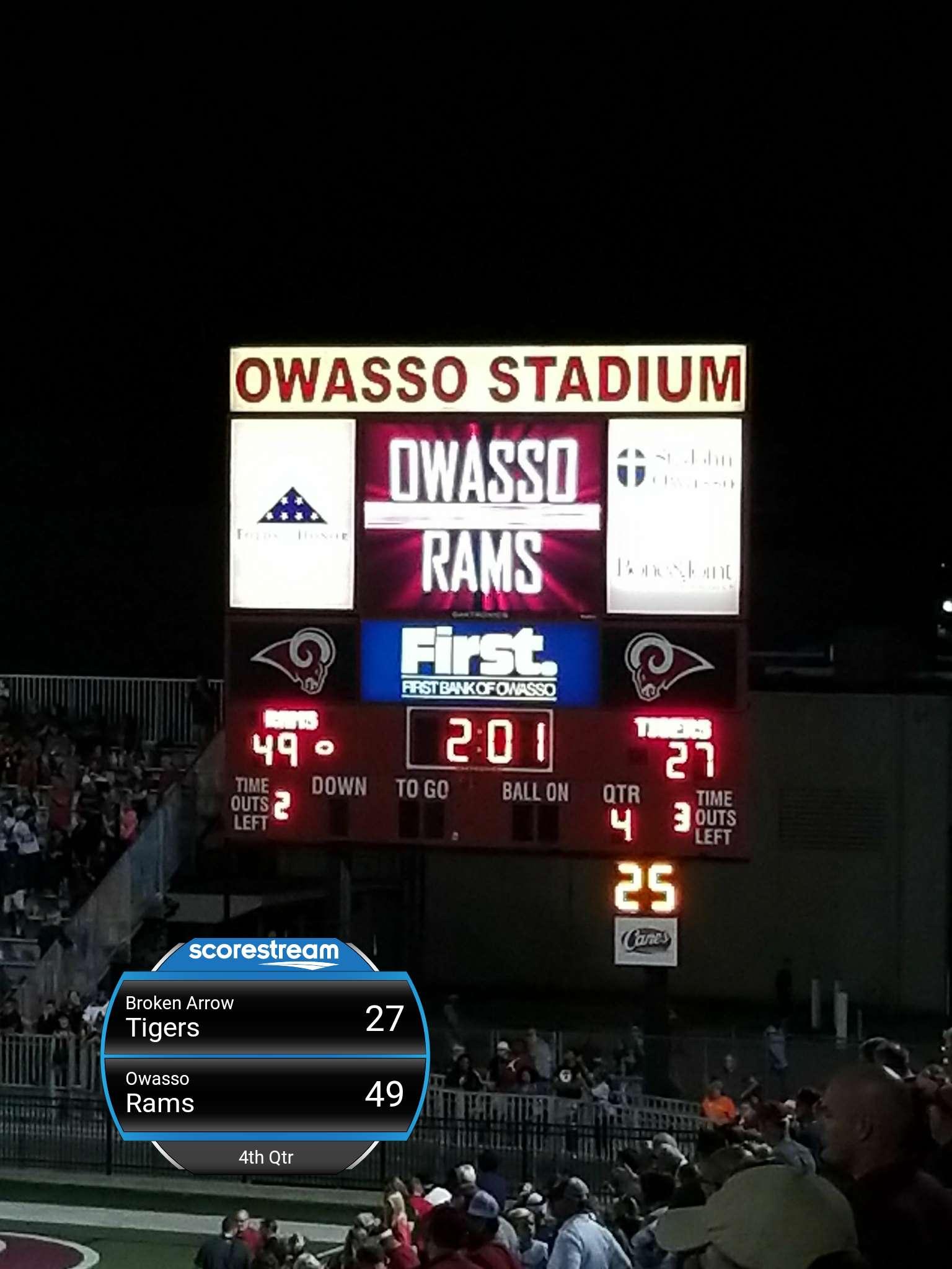 The Owasso Rams Defeat The Broken Arrow Tigers 49 To 27