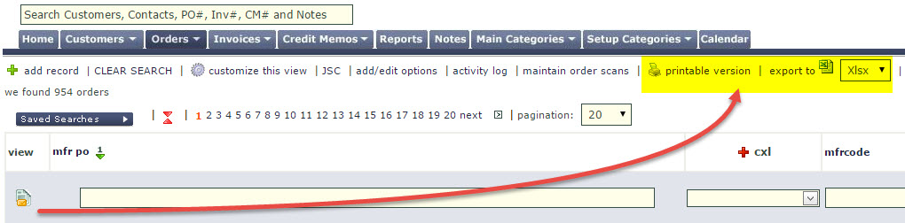 export print order tab