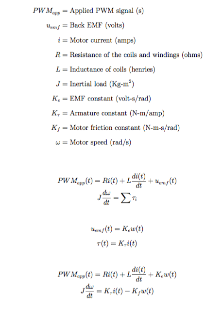 Quadrotor Motor System Model Equations