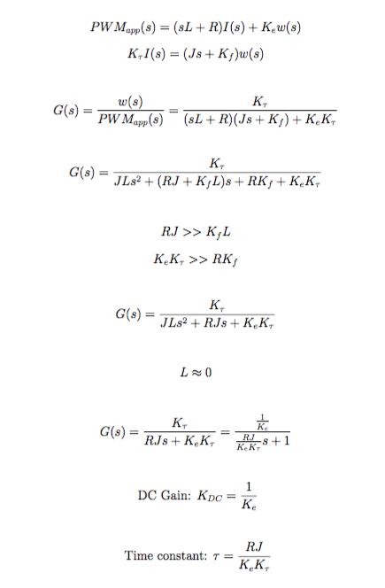 Quadrotor Motor System Dynamics Equations
