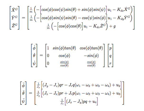 Quadrotor Nonlinear Model Equations of Motion