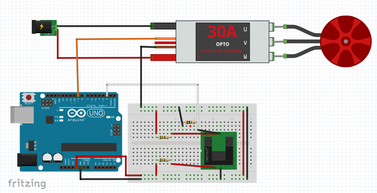 Quadrotor Motor Speed Measurment Experiment Wiring Schematic