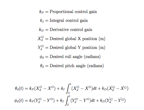 Quadrotor PID Position Controller Equations