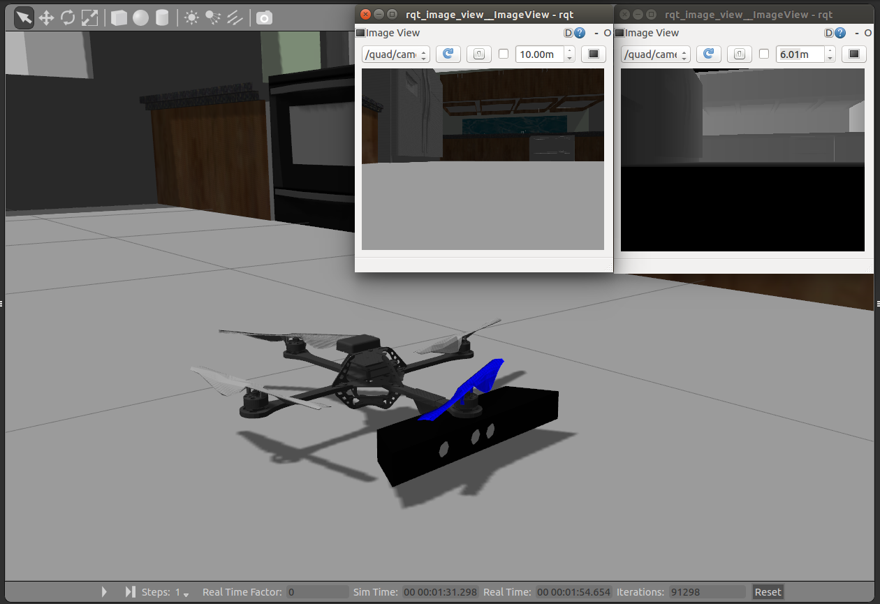 ROS Gazebo Quadrotor With Kinect Sensor Simulation