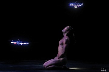 Image of multiple quadrotors and dancer from Seraph by Pilobolus