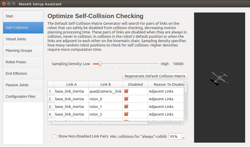 ROS MoveIt! Setup Assistant Collision Checking GUI