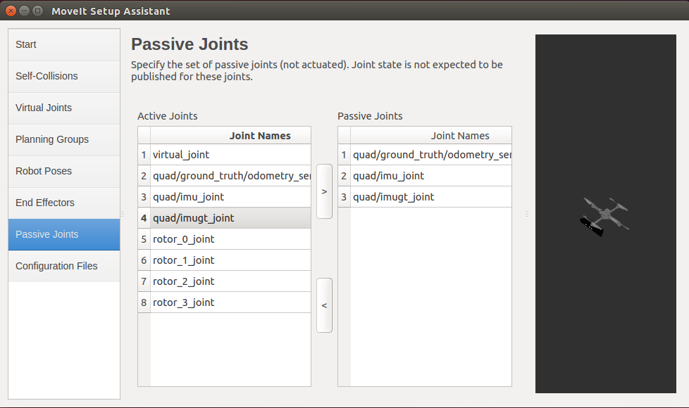 ROS MoveIt! Setup Assistant Passive Joints GUI