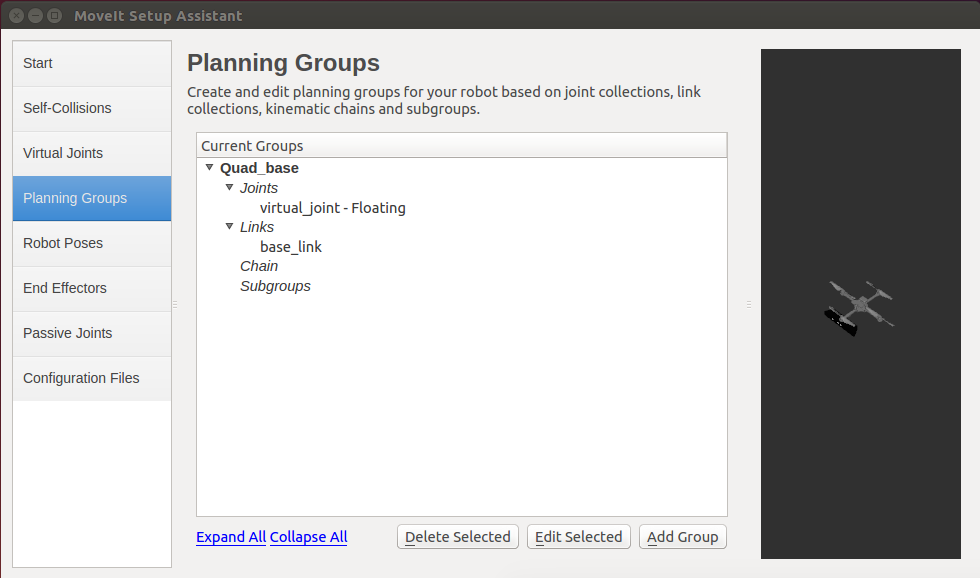 ROS MoveIt! Setup Assistant Planning Groups GUI
