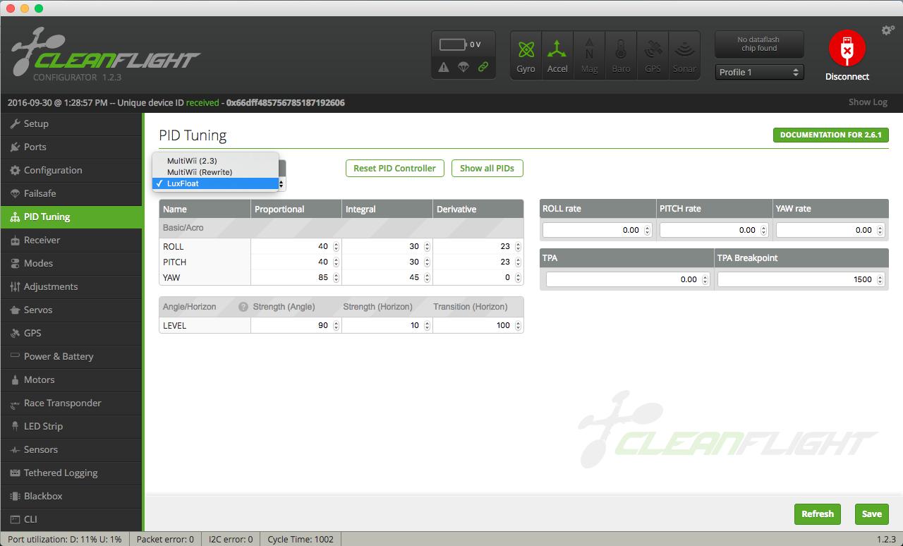 Cleanflight Configurator PID Tab