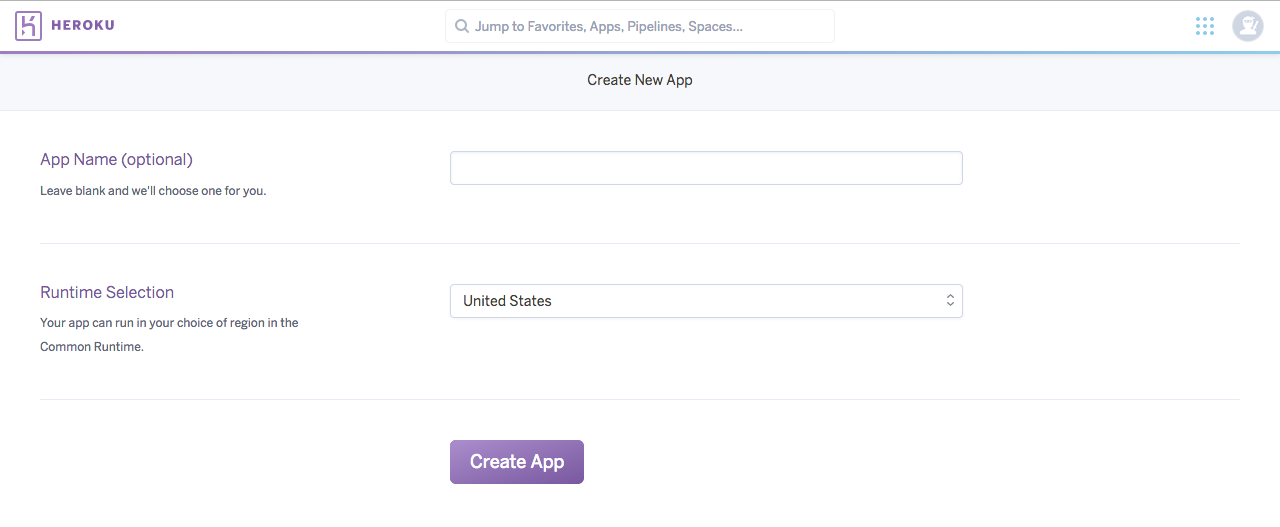 Heroku Create New Application GUI