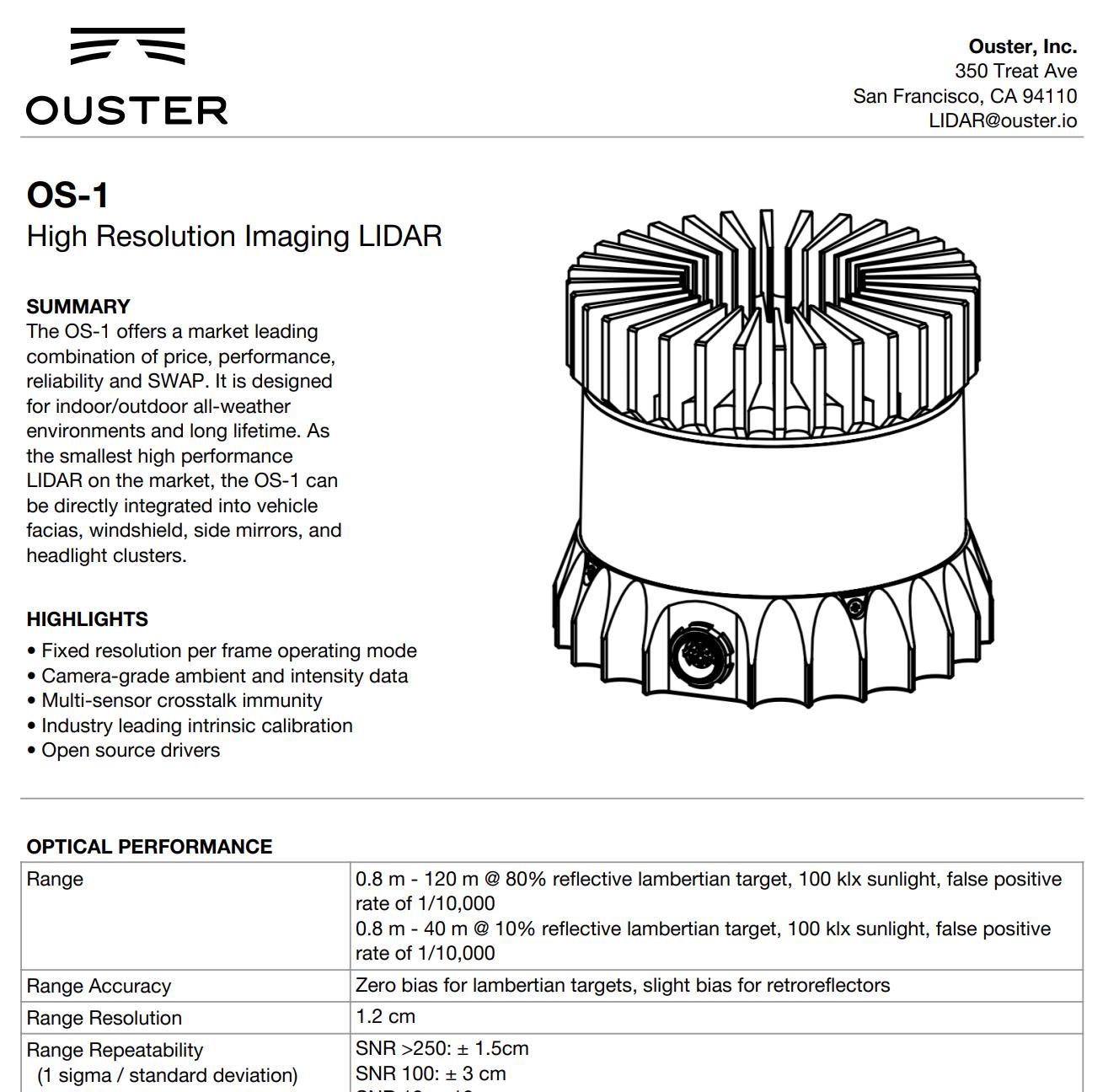 Ouster OS-1 lidar and Google Cartographer Integration