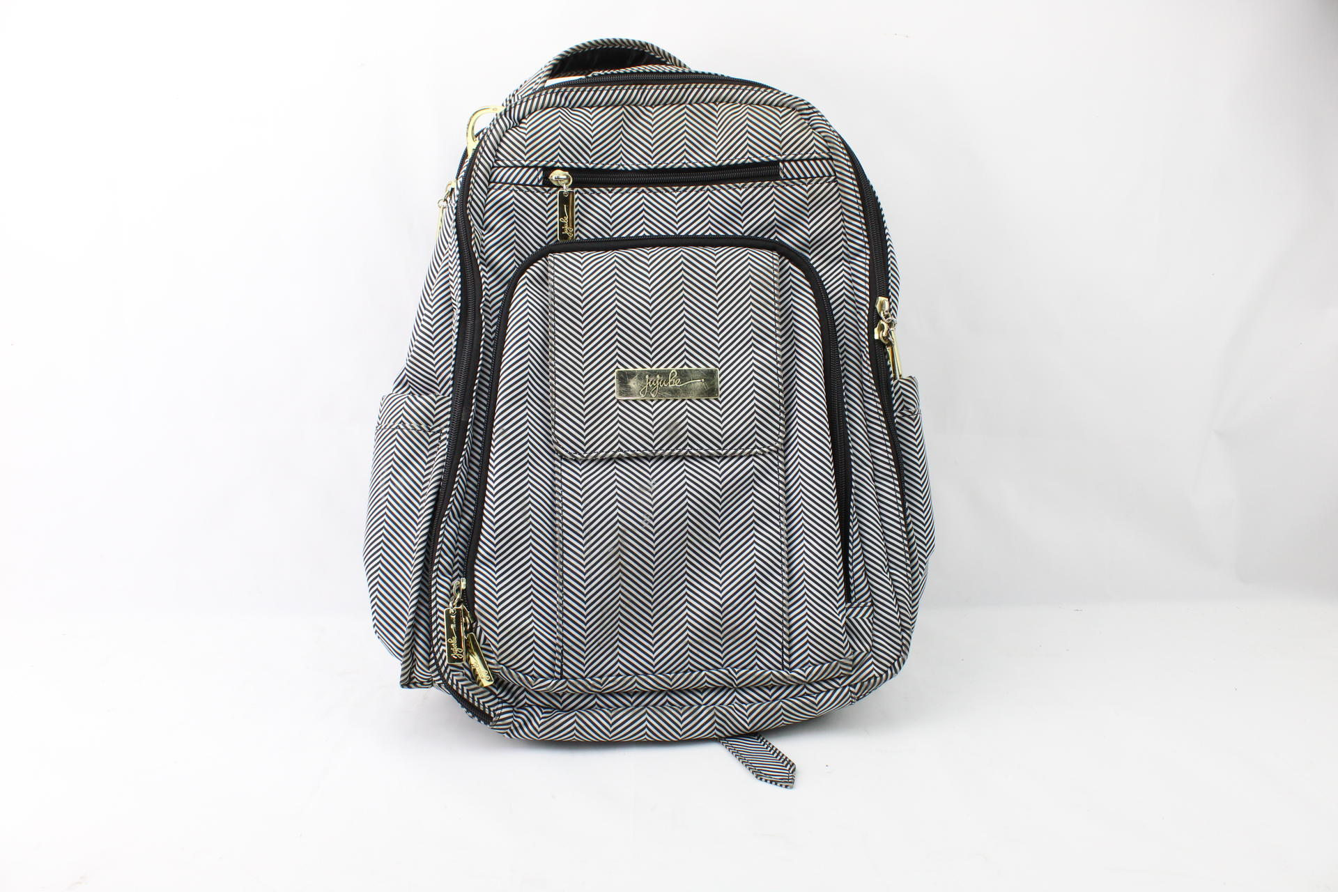 a1cc48f832bd Details about JuJuBe Be Right Back Multi-Functional Structured  Backpack/Diaper Bag Black/White