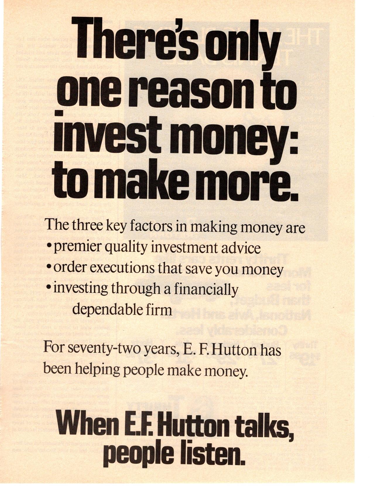 1976 When E F Hutton Talks People Listen Make More Money Investment Print Ad Ebay