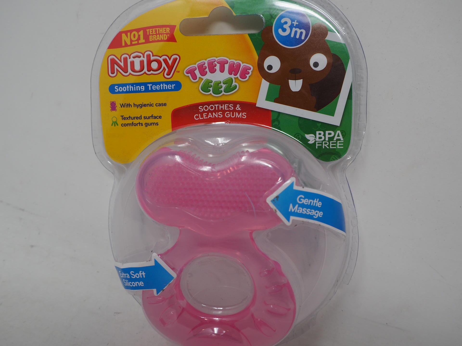 one size Nuby Teethe-eez Teether pink