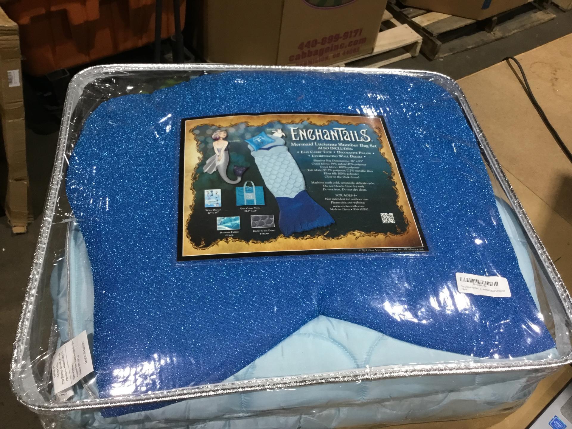 Enchantails - Mermaid Tail Sleeping Bag (Blue) - Includes: Bag, Pillow, Case, & Book