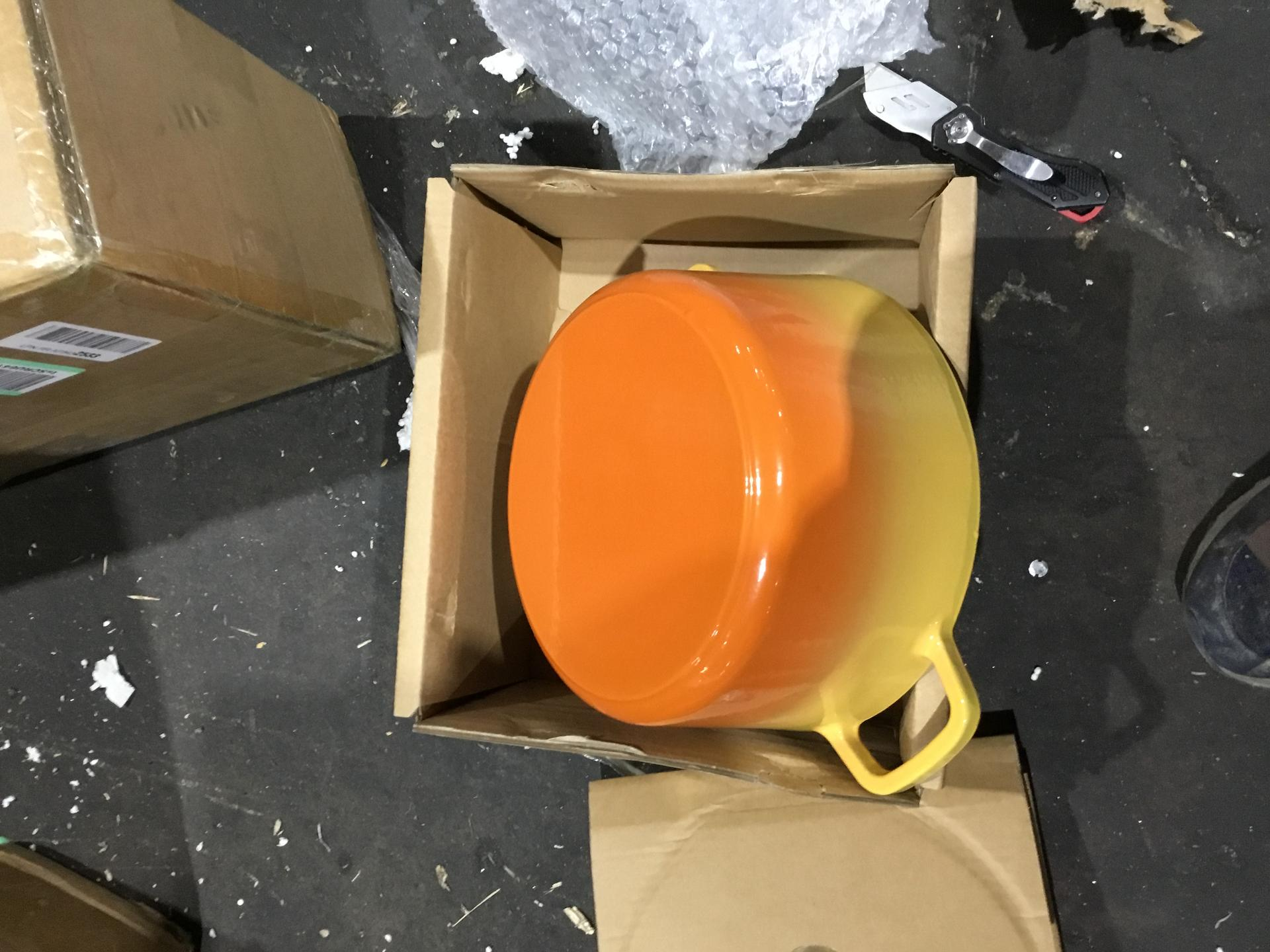 Crock-Pot Artisan Round Enameled Cast Iron Dutch Oven, 5-Quart, Sunset Orange