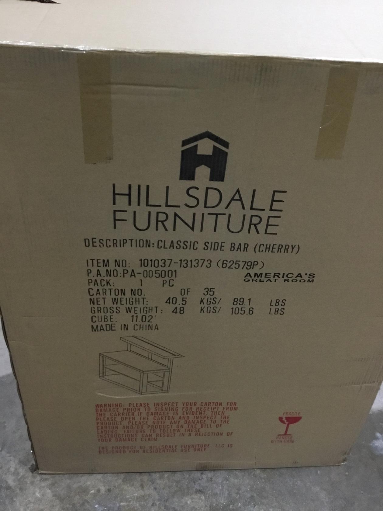 Hillsdale Furniture Hillsdale Classic Side Bar, Cherry Finish