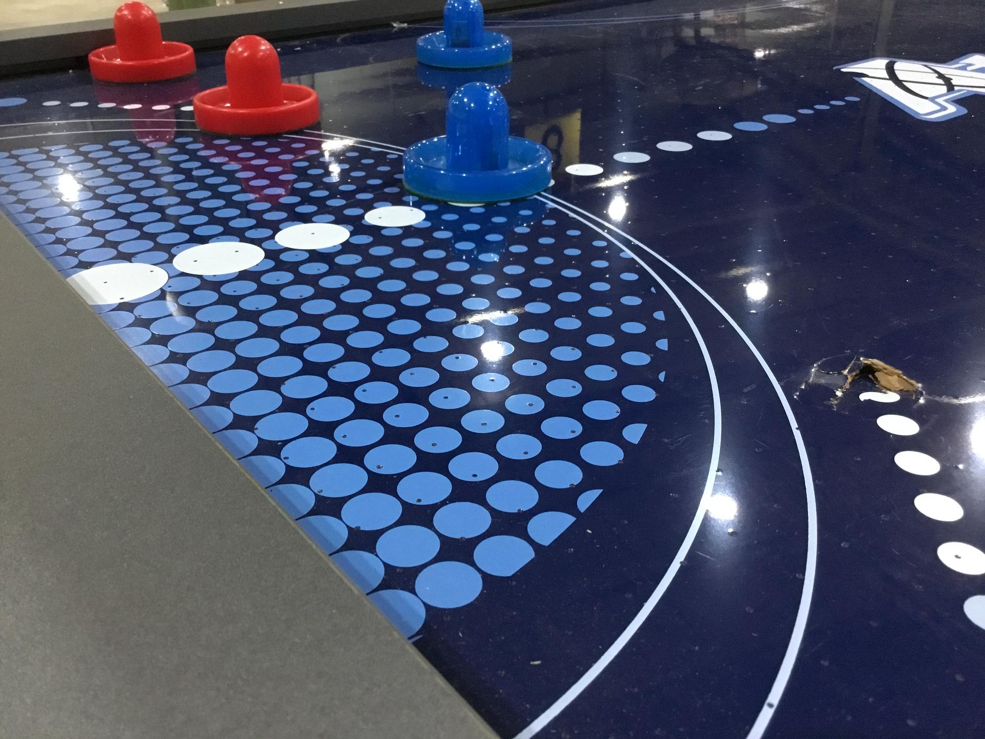 Atomic 90 or 7.5 ft LED Light UP Arcade Air Powered Hockey Tables - Includes Light UP Pucks and Pushers