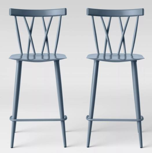 Set of 2 Becket Metal X Back Counter Height Barstool Light Blue - Project 62