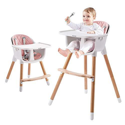 IKARE Wooden Natural Baby High Chair W/ Removable Tray & Safety Harness, 3-in-1 Infant Highchair / Booster / Kid Chair | Grows with Your Child | Adjustable Legs | Modern Wood Design (pink)