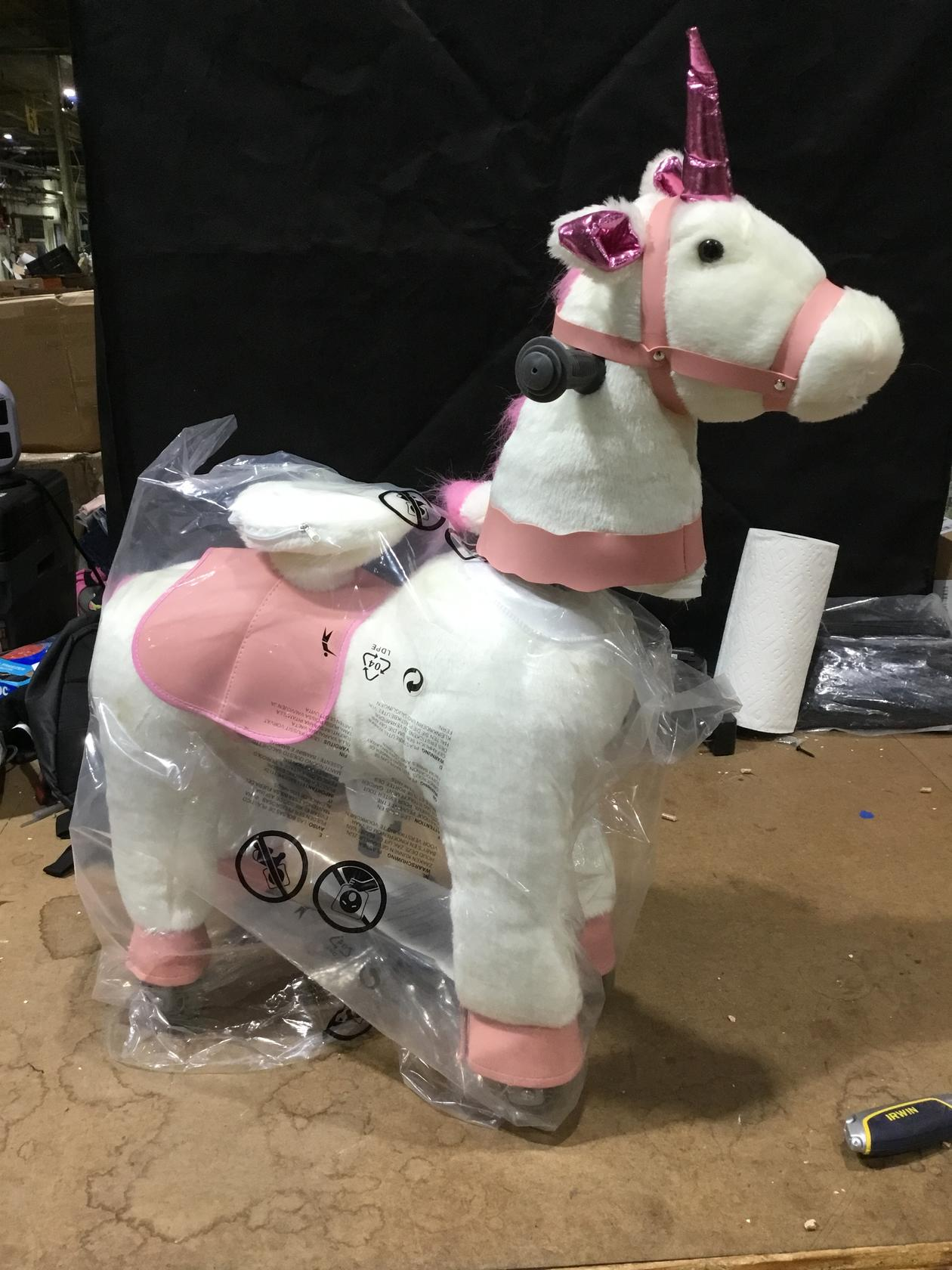 Ride on Unicorn Toy, Kids Ride on Toy for 3-6 Years Old, Premium Ride on Horse Plush Animal Toy, Walking Unicorn Horse with Wheels (27 Inch Height)