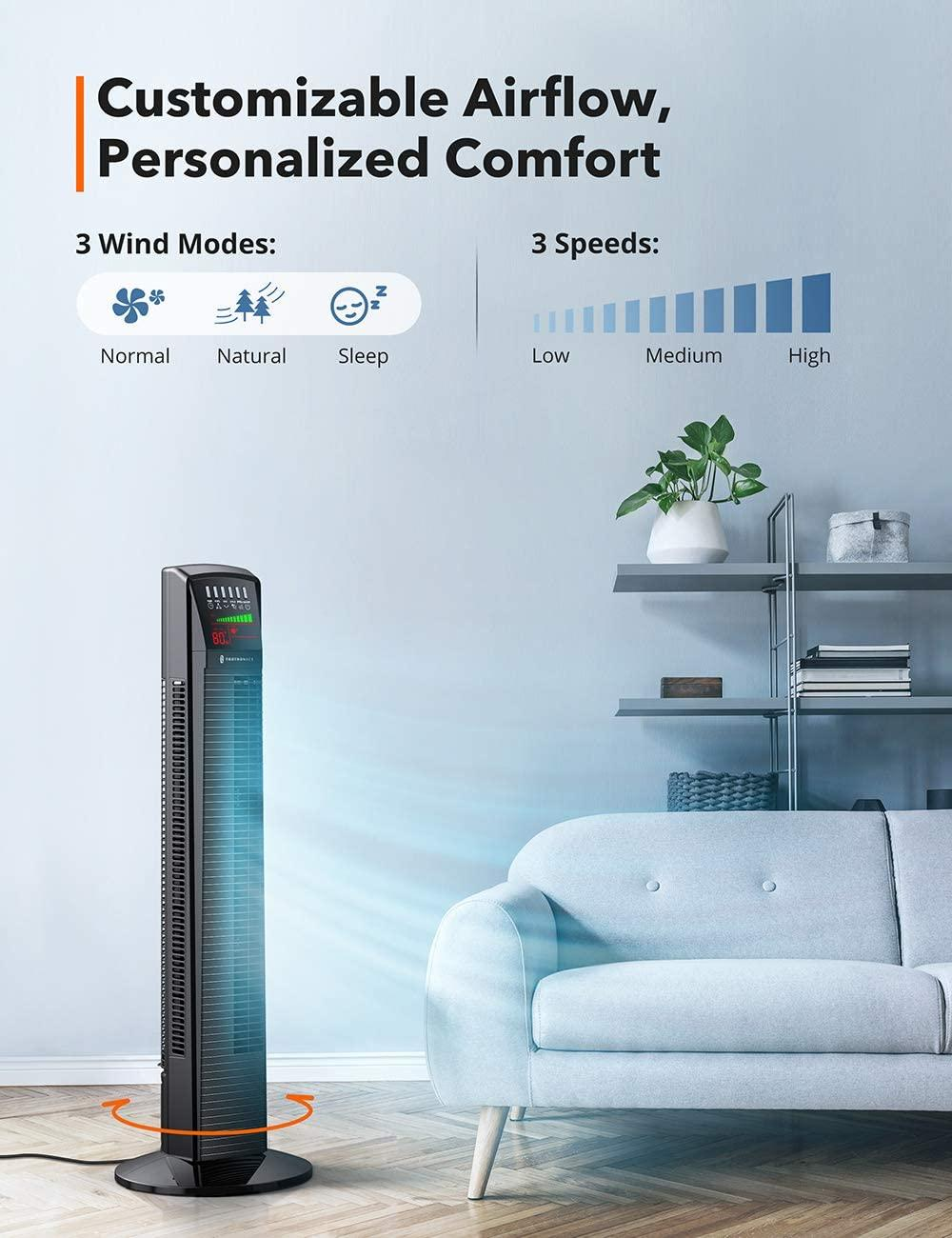 TaoTronics Oscillating Tower Fan 001 with Large LED Display