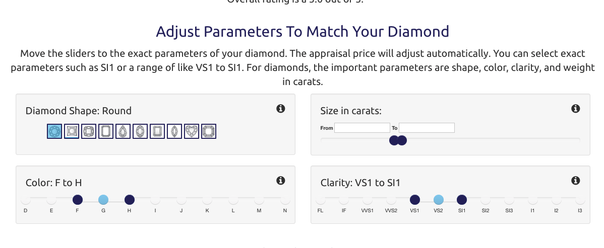 Example of new UI sliders on SellMy.Jewelry