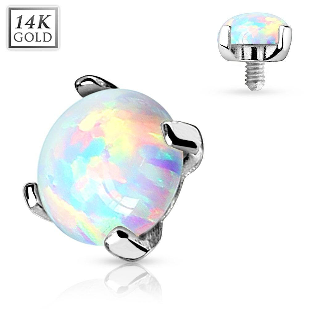 Prong Setting Lab Opal Stone 14K White Gold Dermal Anchor Top 4mm 14g