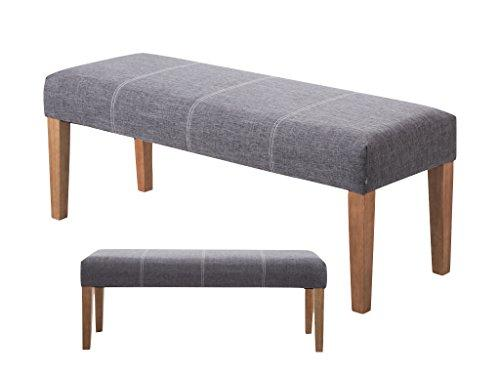 Zanza upholstered grey bench grey fabric seat bench - Upholstered benches for living room ...