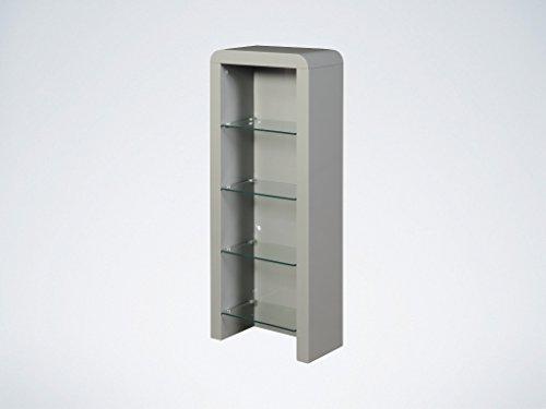 Details zu Atlanta Grey DVD Storage Unit with Glass Shelves - Grey DVD  Storage Rack Small