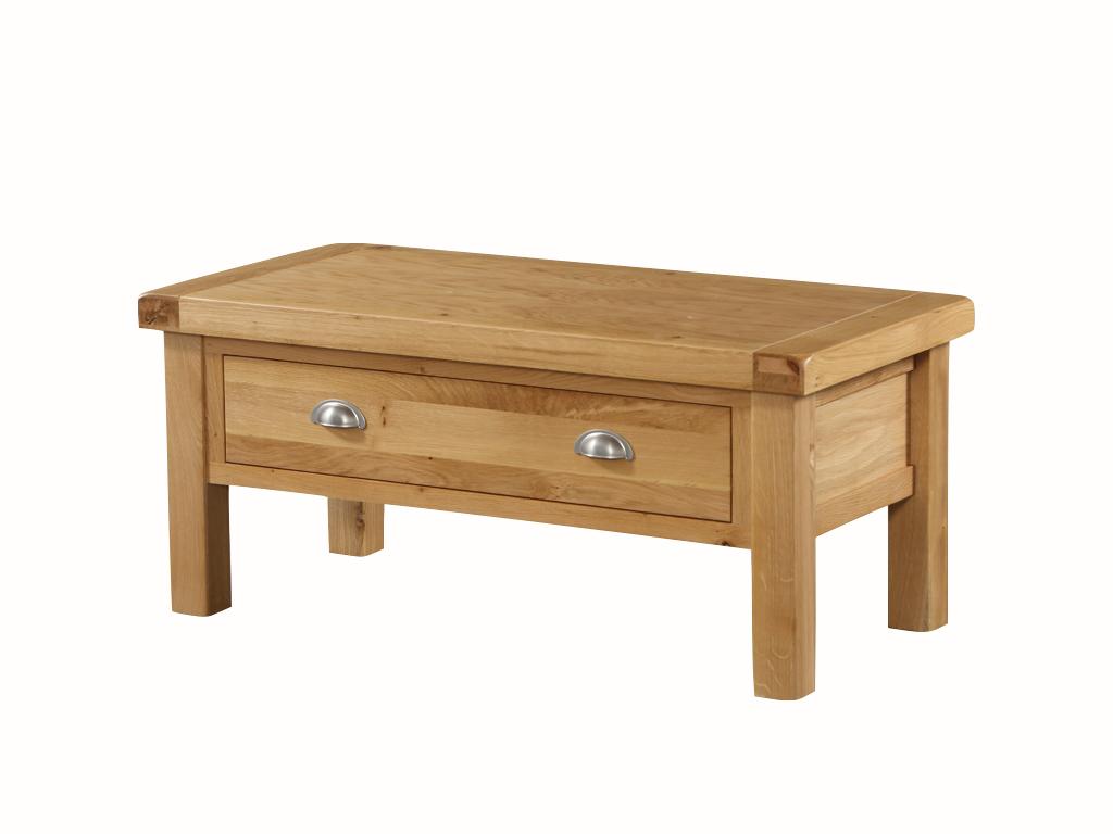 - Newport Solid Oak Medium Storage Coffee Table With Drawer - Oak