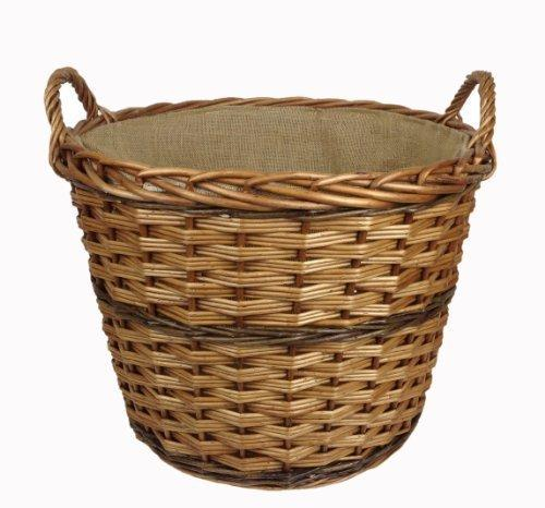 Wicker Log Basket With Handles : New quality round wicker log basket fully lined with