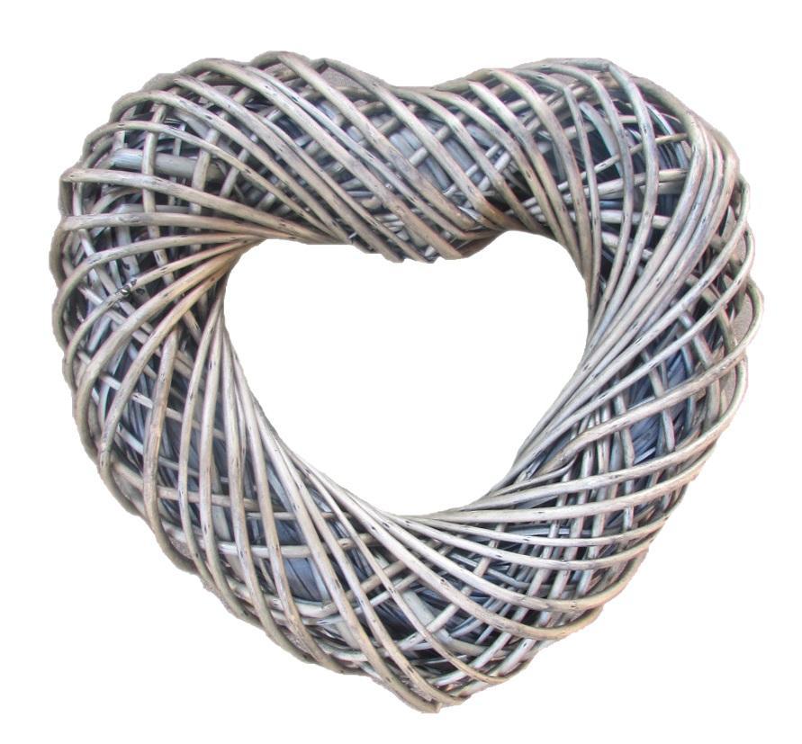 Medium Antique Wash Willow Heart Shaped Wreath 40cm Diameter