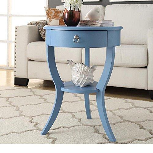 Modern light blue round wood accent nightstand end chair for Light wood side table