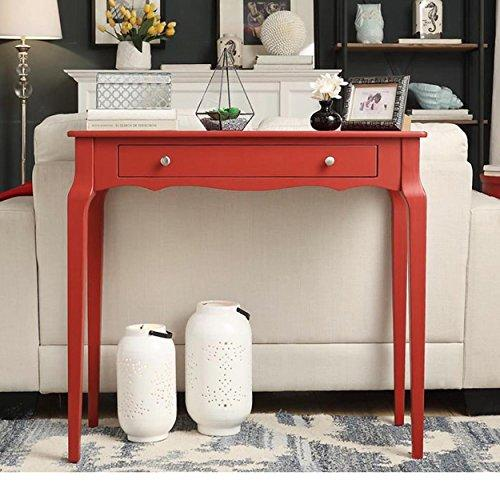 Modern Red Cottage Wood Narrow End Sofa Console Accent Table With Storage Drawer Ebay