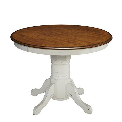 Country Cottage 42 Inch Round White Oak Wood Pedestal Dining Table