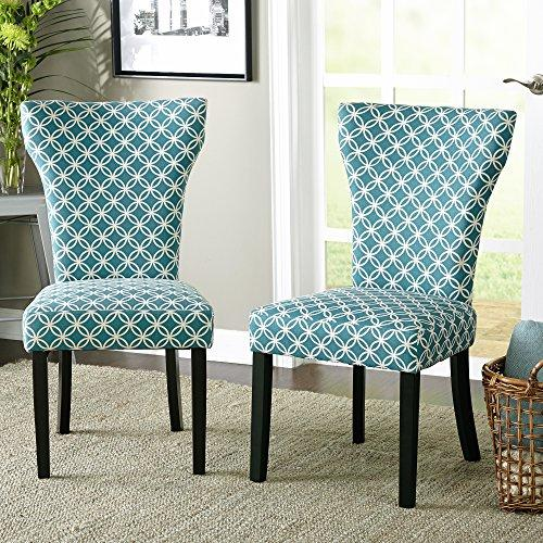 Set Of 2 Dining Chairs: Set Of 2 Modern Teal Pattern Fabric Accent Dining Chairs